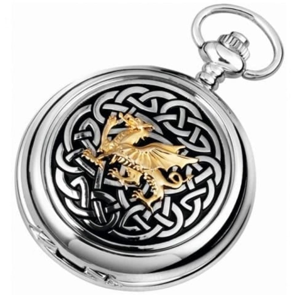 Mechanical Welsh Dragon Double Hunter Pocket Watch With Knotwork Pattern