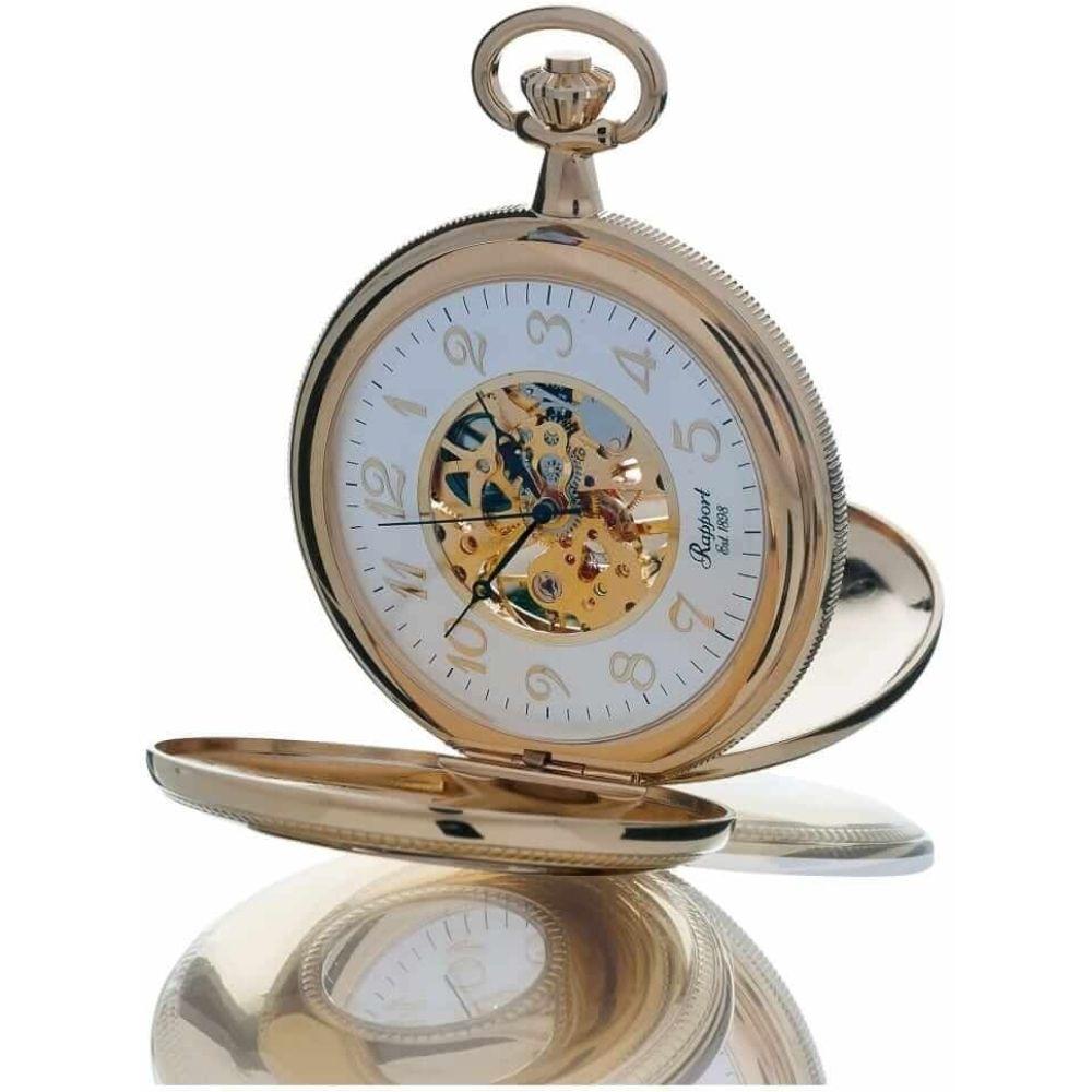 Gold Tone Mechanical Double Half Hunter Pocket Watch