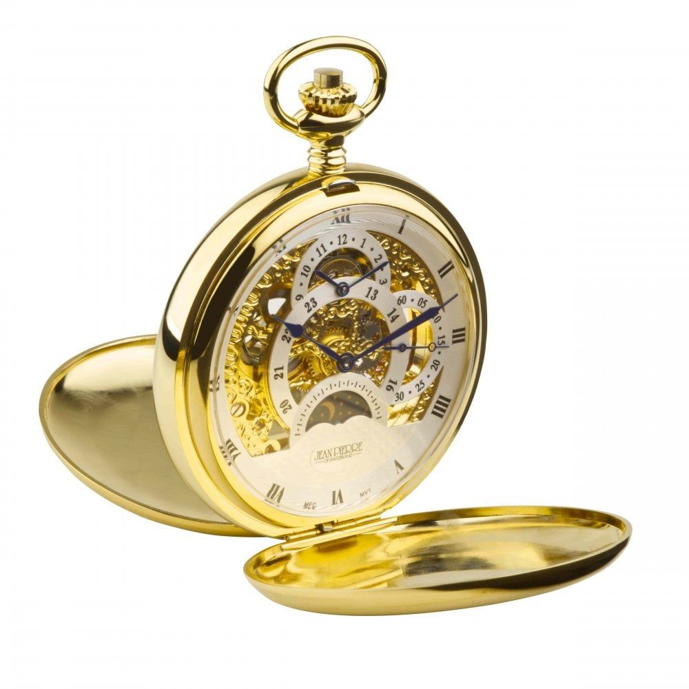 Gold Toned Double Hunter Dual Dial Moon dial Pocket Watch