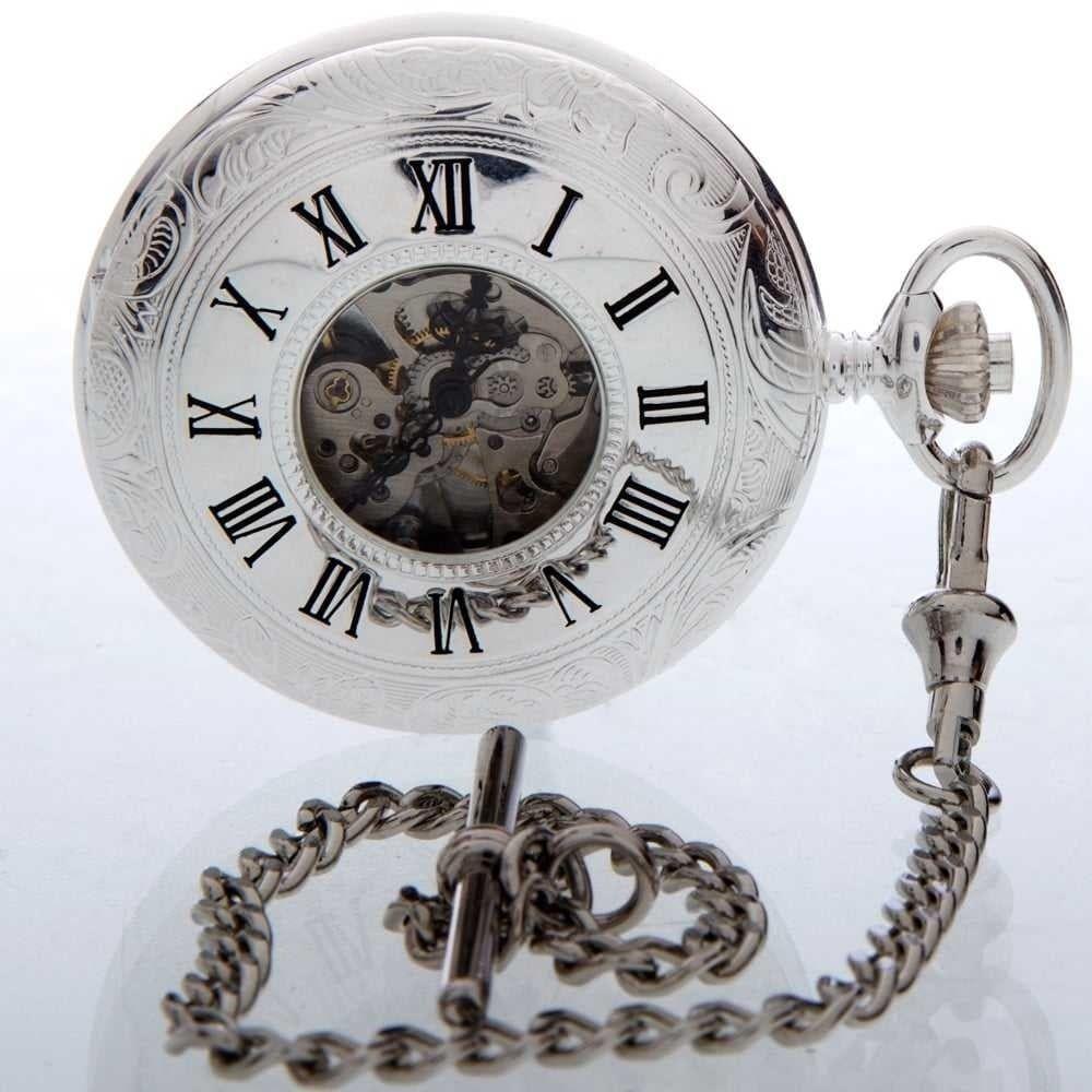 The Savoy - Sterling Silver Half Hunter Patterned Pocket Watch