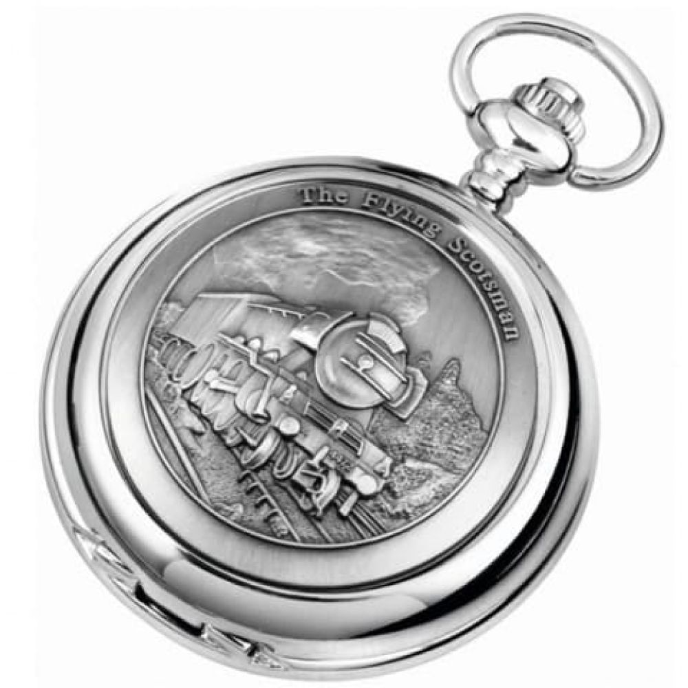 The Flying Scotsman Double Hunter Chrome Pewter Mechanical Pocket Watch