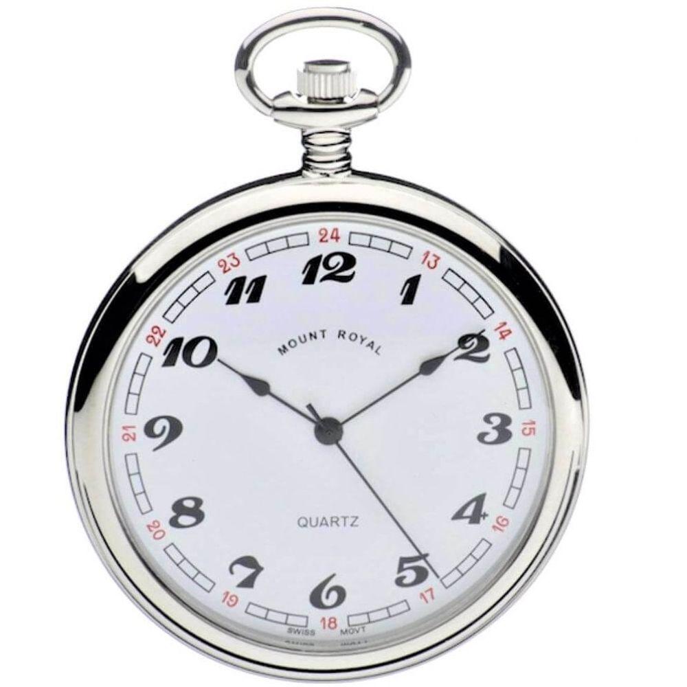 Swiss Quartz Open Face Chrome Plated Pocket Watch