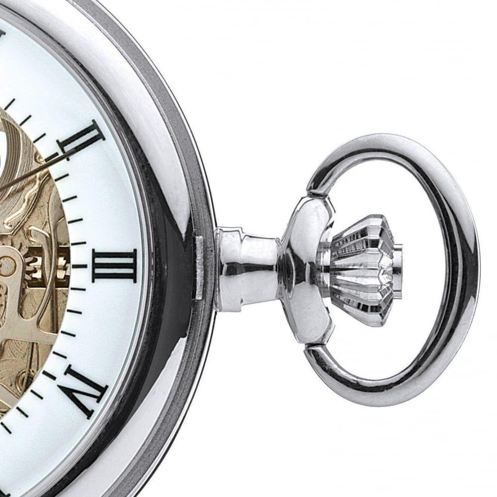Polished Chrome Half Hunter Mechanical Pocket Watch With Open Back