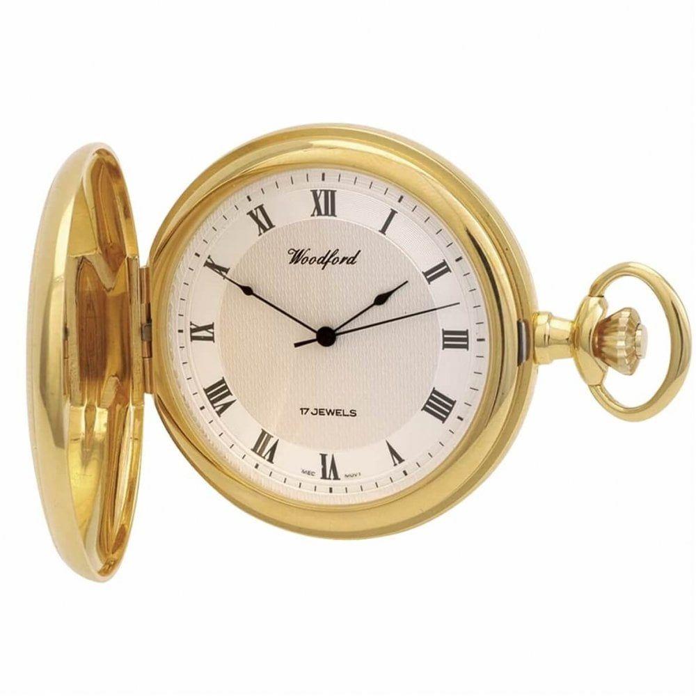 Gold Plated 17 Jewel Mechanical Full Hunter Pocket Watch
