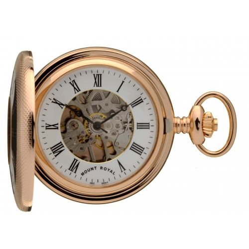 Rose Gold Polished Mechanical Half Hunter Pocket Watch With Roman Indexes