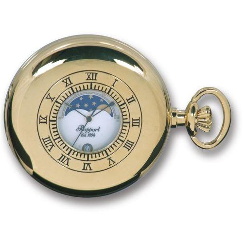 Gold Tone Moon Phase Half Hunter Quartz Pocket Watch