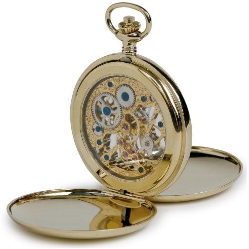 Gold Tone Mechanical  Double Hunter Pocket Watch