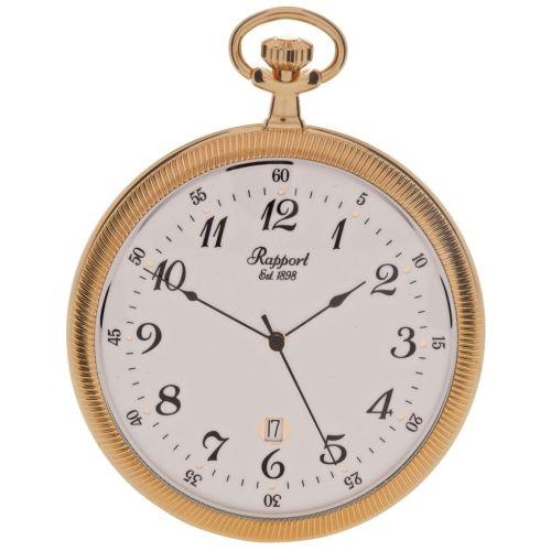 Gold Toned Slim Open Face Quartz Pocket Watch