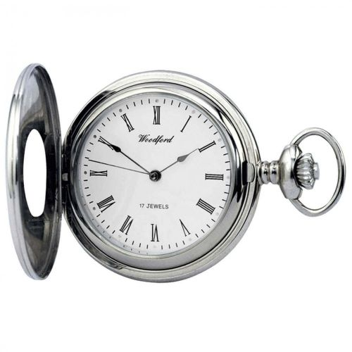 Half Hunter Chrome Plated 17 Jewel Mechanical Pocket Watch