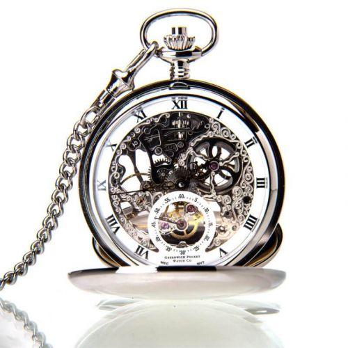 The Kensington - Chrome Mechanical Double Hunter Pocket Watch