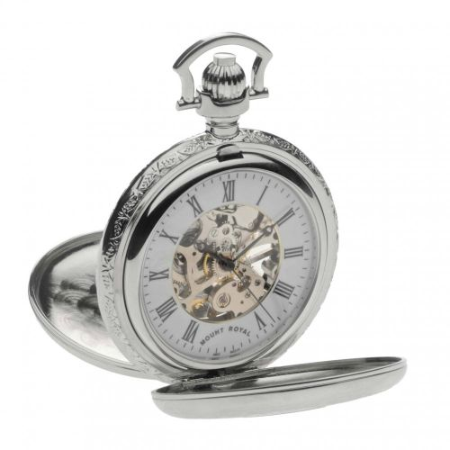 Chrome Polished Mechanical Double Half Hunter Pocket Watch With Roman Indexes