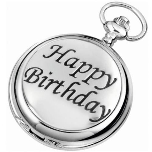 Happy Birthday Full Hunter Chrome Pewter Quartz Pocket Watch