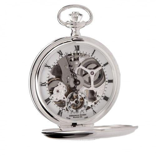 The Hampton - Sterling Silver Double Half Hunter Skeleton Pocket Watch