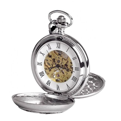 Double Hunter Horse Racing Chrome/pewter Mechanical Pocket Watch