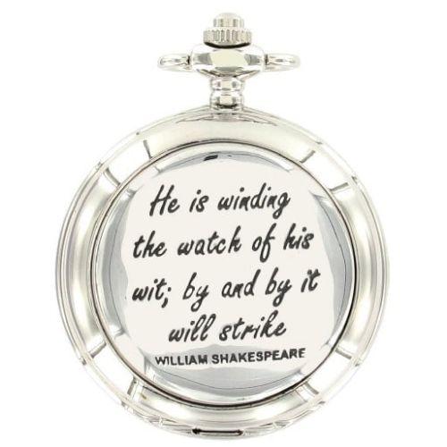 William Shakespeare Chrome Full Hunter Quartz Pocket Watch