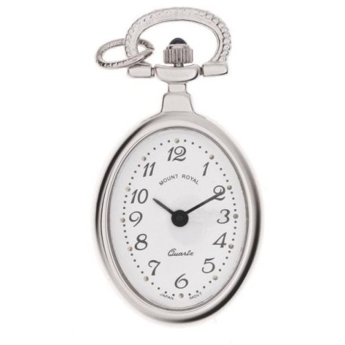 Polished Chrome Open Face Quartz Oval Pendant Necklace Watch With Arabic Indexes