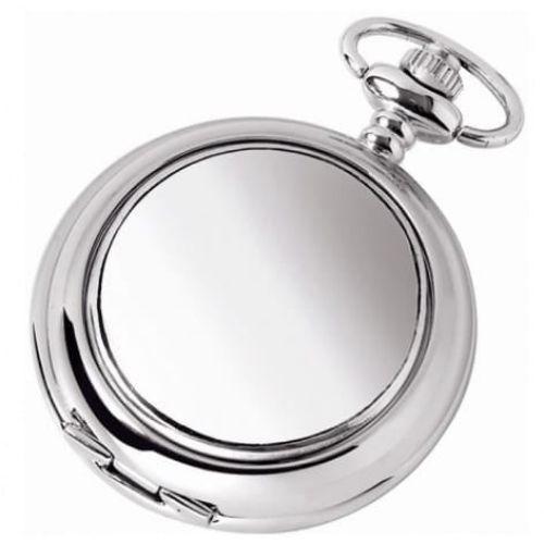Plain Full Hunter Chrome/pewter Quartz Pocket Watch