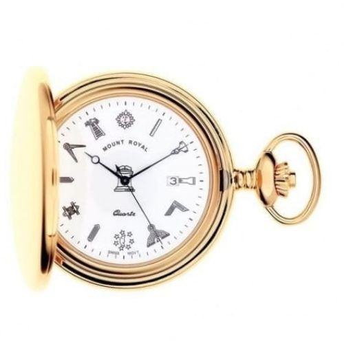 Masonic Gold Tone Full Hunter Quartz Pocket Watch