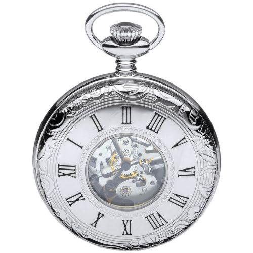 Polished Chrome Mechanical Half Hunter Pocket Watch with Skeleton Display & Roman Numerals