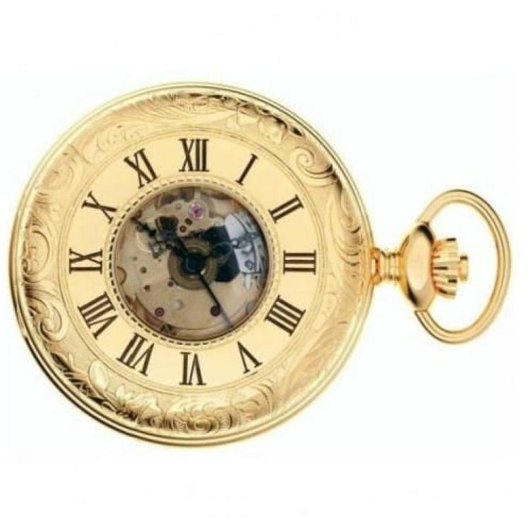 Half Hunter Gold Toned Mechanical Pocket Watch