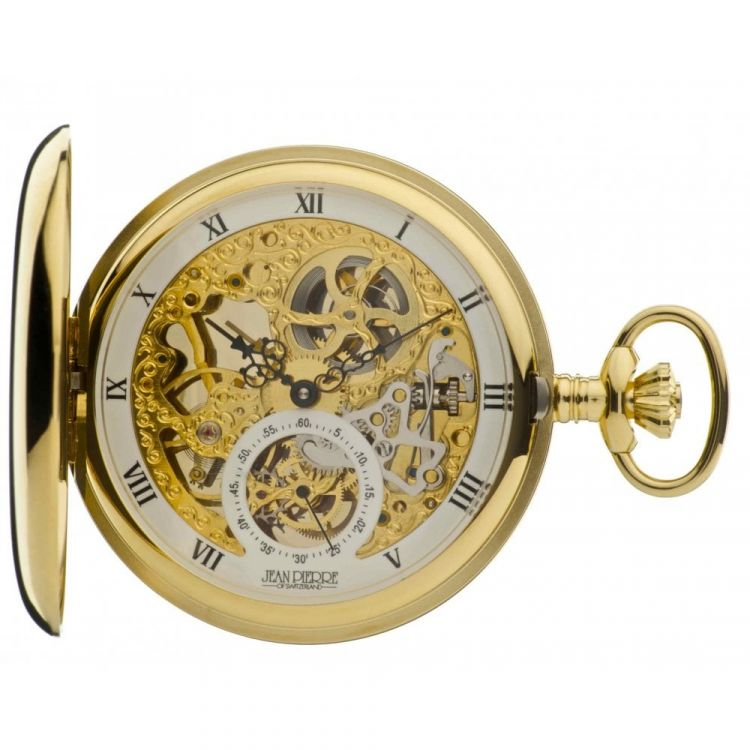 Gold Toned Mechanical Double Hunter Pocket Watch