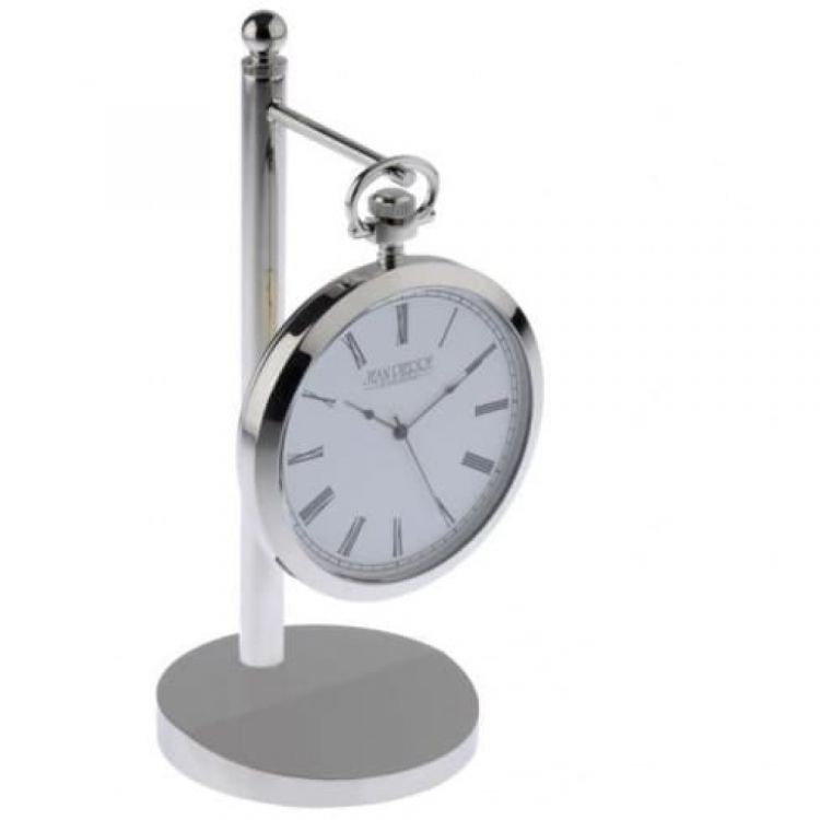 Polished Chrome Executive Desk Clock With Stand