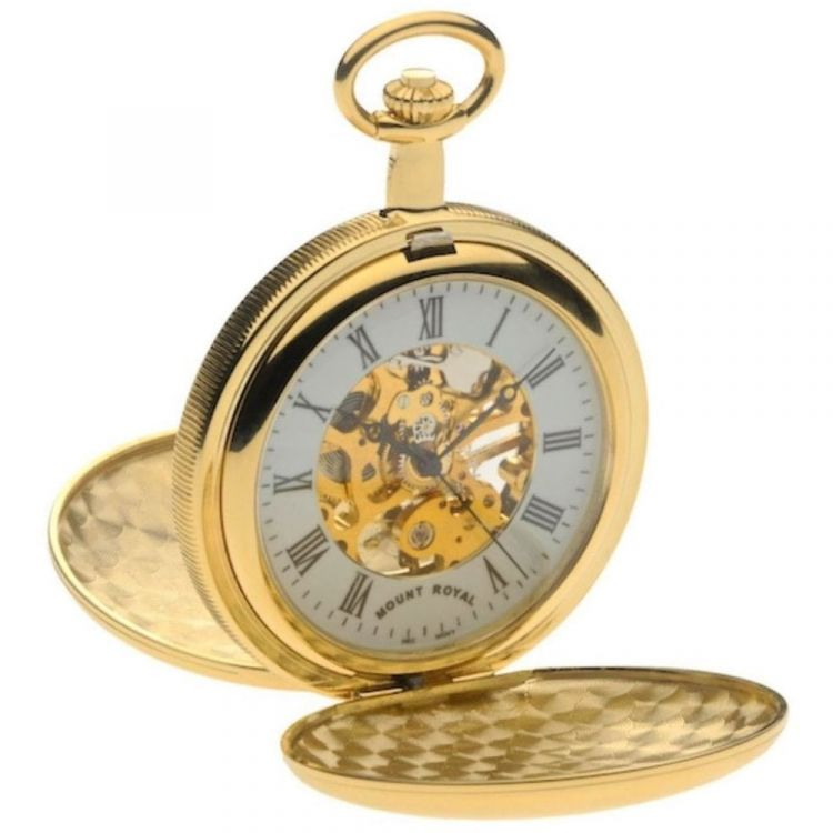 Gold Tone Skeleton Mechanical Double Hunter Pocket Watch With Roman Indexes