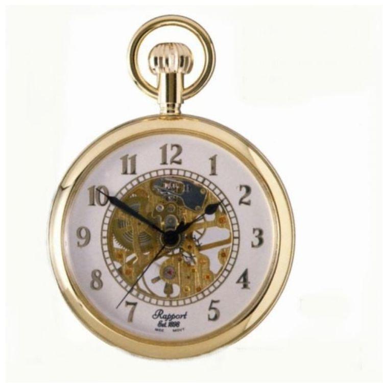 Gold Tone Mechanical Open Face Pocket Watch