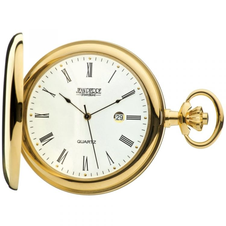 Quartz Gold Toned Full Hunter Pocket Watch