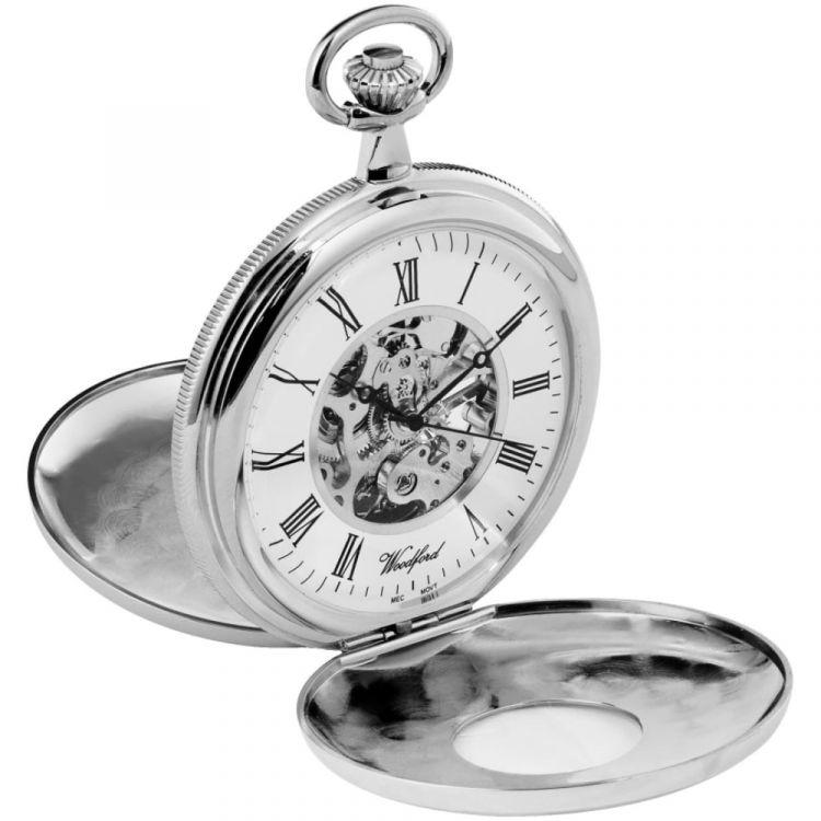 Double Half Hunter Chrome Plated Mechanical Pocket Watch